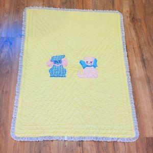 Vintage handmade yellow baby blanket